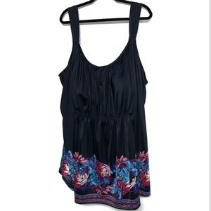 NWT Swimsuits For All black floral tankini size 40